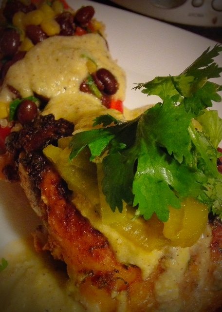 Roasted Chicken & Black Bean Salsa-Stuffed Red Pepper with Hatch Chile ...